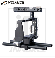 YELANGU Professional Aviation Aluminum Camera Cage Kit Handle Grip Cold Shoe Thread Clamp for Sony A6000 A6300 A6500 series