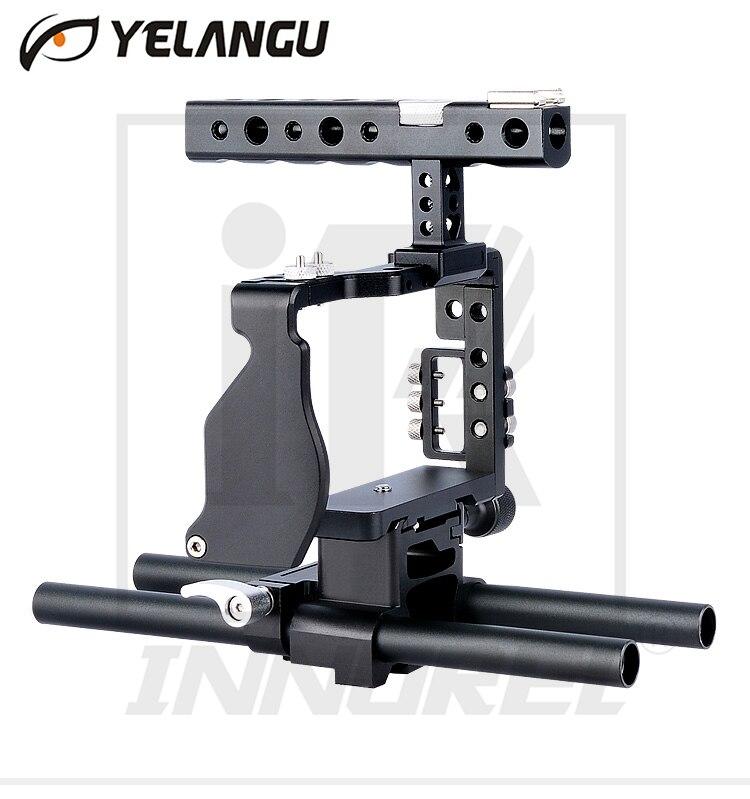 Yelangu профессиональные авиации Алюминий Клетки для камеры комплект Ручка Холодный башмак Нитки зажим для Sony a6000 a6300 A6500 серии