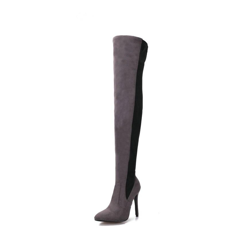 D'hiver Bottes Taille 34 gris Mince Femmes Talons Chaussures Rouge Patchwork Sur 43 2019 Coudre Le Automne Haute Esveva Genou Élégant Noir vin À Femme R35ALq4j