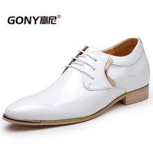 GN6592Fashion Mens Patent Leather font b Shoes b font with Height Increasing Insole 2 36 Inches