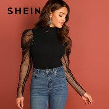 SHEIN Going Out Highstreet negro malla Gigot manga alto cuello ajustado Top 2018 otoño Casual mujeres moderna señora camiseta Top