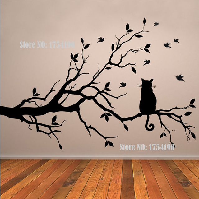 Bon Tree Vinyl Wall Decal Adesivi Murali Glass Film Window Stickers Home  Decoration Wall Art Cat On