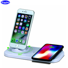 Riggler USB 3 in 1 Charge Holder and Wireless Charger Qi for iphone X XR XS MAX Huawei Fast