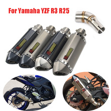 R3 R25 Motorcycle Exhaust Muffler Mid Link Pipe Slip On Ful Set Pipe For Yamaha YZF R3 R25 Exhaust System