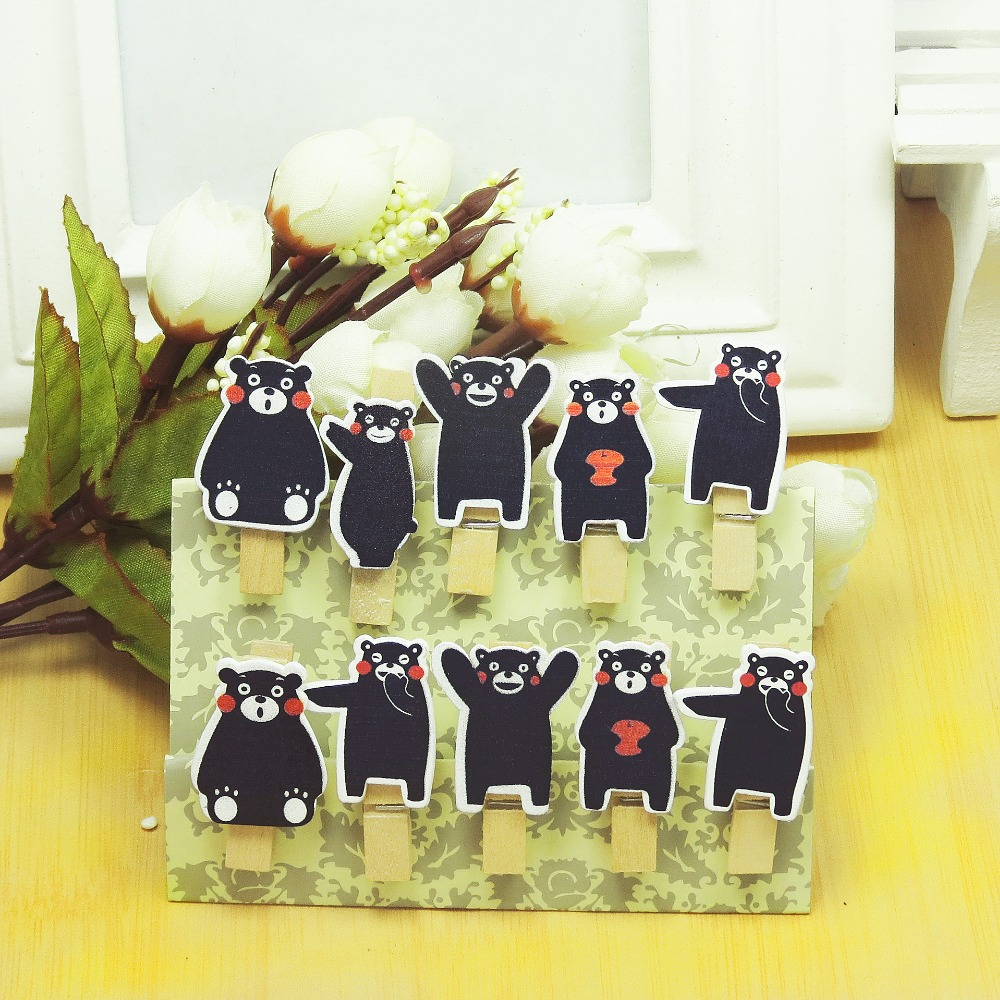 10 Pcs/Lot Kawaii Cartoon Kumamon Wooden Clip Photo Paper Clothespin Craft Clips Party Decoration Clip With Hemp Rope