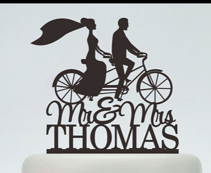 Acrylic wedding cake toppers running bicycle couples custom bride acrylic wedding cake toppers running bicycle couples custom bride groom name and date engagement bridal shower filmwisefo
