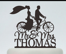 Acrylic Wedding Cake Toppers Running Bicycle S Custom Bride Groom Name And Date Engagement Bridal Shower