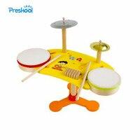 몬테소리 아기 아이 장난감 나무 드럼 키트 세트 악기 학습 교육 유치원 교육 Brinqudoes Juguets