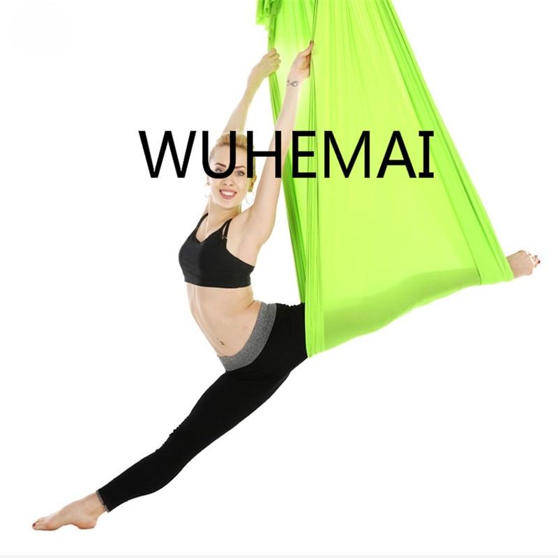 wuhemai Flight Anti-gravity Yoga hammock swing fabric Aerial Traction Device The professional yoga belt of the elastic yoga hall aerial anti gravity yoga belt w elastic orange