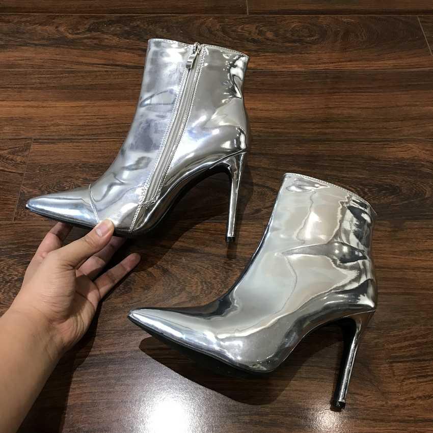 Năm 2019 Thời Trang Giày Bốt Nữ Thu Đông Giày Cao Gót Giày cho Nữ Vàng Bạc Giày Người Phụ Nữ Lông Ấm Bằng Sáng Chế Da Mắt Cá Chân giày