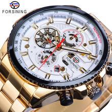 Часы наручные Forsining Мужские механические, золотистые автоматические стальные водонепроницаемые с датой
