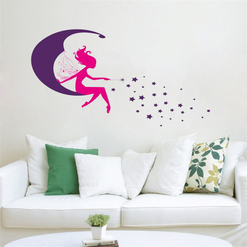flower fairy angel stiting on the moon stars wall stickers for kids rooms home decor cartoon wall decals pvc mural diy posters