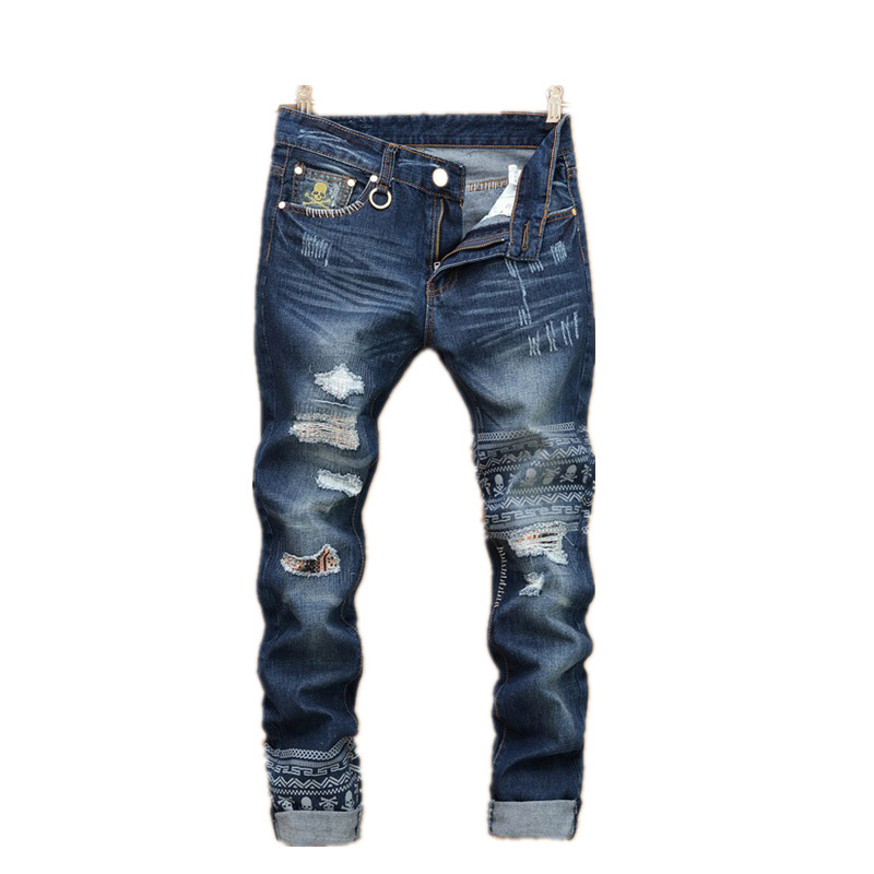 ФОТО jeans male New fashion robins hole jeans pants men fashion's jeans men Trousers straight pants designer high quality