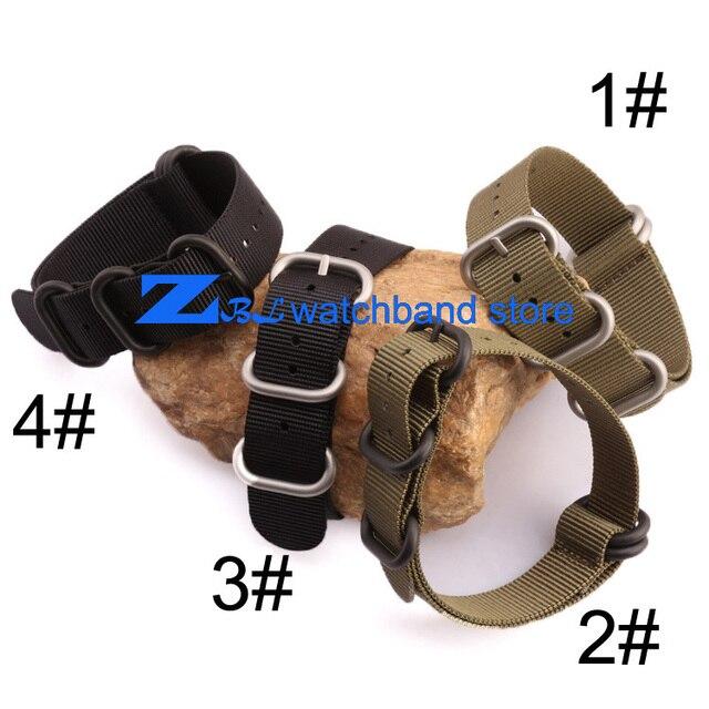 Correa de nylon con hebilla de acero correa de la otan a prueba de agua 22mm deporte reloj de pulsera de banda de 18mm 20mm 22mm 24mm Negro verde del ejército color