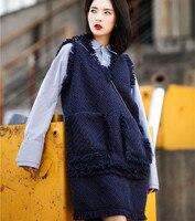 Cakucool Design Autumn Navy blue Women Sundress Korea Sleeveless Big Pockets Woolen dress Loose Casual Cute Women Tank Dress