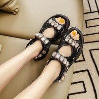 Модная женская обувь на плоской подошве, украшенная кристаллами; женская летняя обувь с сеткой; повседневная обувь на платформе