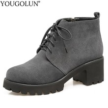 Cow Suede High Heel Ankle Boots Women Autumn Ladies Square Heels A240 Fashion Woman Lace Up Black Gray Zipper Round toe Shoes