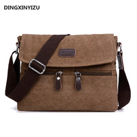 Men S Canvas Shoulder Bag Multi Functional Men S Travel Leisure Diagonal Package Solid Color Zipper