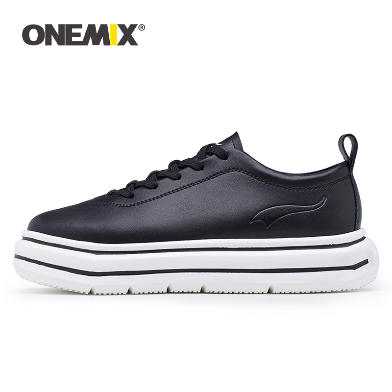 ONEMIX Women Sneakers Leather Shoes Hight Increasing EVA Outsole Micro Fabric Leather Light Female Shoes For Outdoor Walking-in Running Shoes from Sports & Entertainment    1