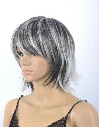 Free Shipping Fashion Wig New Sexy Men Women Short White And Black