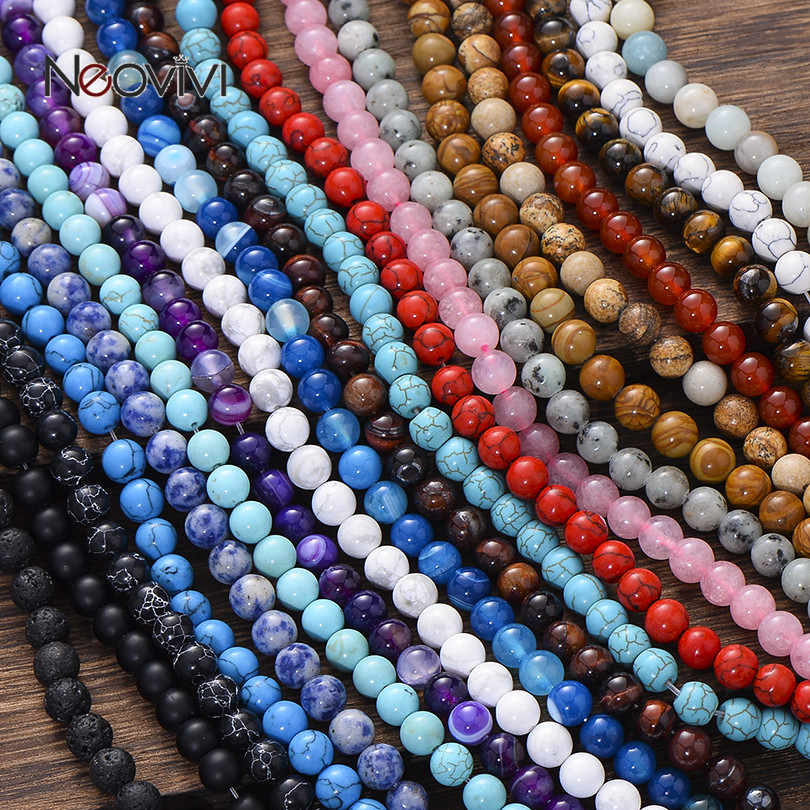 Round Natural Stone Beads Matte Lava Tiger Eye Turquoises Black Onxy Loose Stone Beads for Bracelet Necklace Jewelry Making DIY