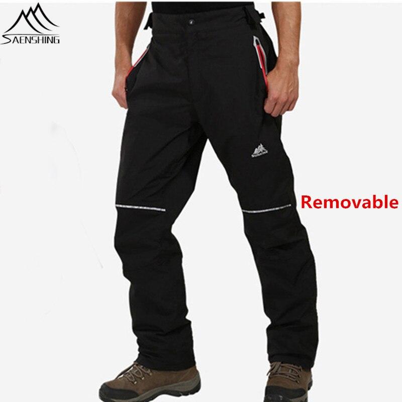 SAENSHING Removable Ski Pants men 2016 Winter Fleece Thicken Warm Outdoor Skiing font b Snow b