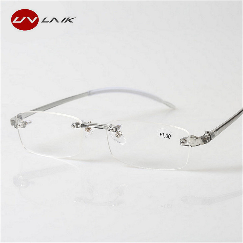UVLAIK TR90 Reading Glasses Rimless Men Women Ultra-light Frameless Reading Glasses Spectacles Glasses 1.5 2.0 2.5 3.0 3.5 4.0