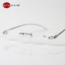 UVLAIK TR90 Reading Glasses Rimless Men Women Ultra-light Fr