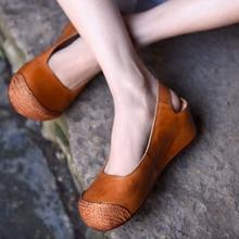 Artmu Original Korean Style Thick Sole Wedges Heels Womens Sandal Retro Hemp New Spring Genuine Leather Handmade Sandals J182-9