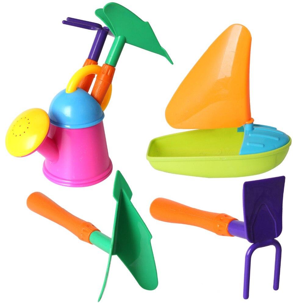 100% QualitäT 4 Pcs Farbe Zufällig Segelboot Bad/strand Spielzeug Set Schaufeln, Rechen, Sprinkler, Sand Eimer Spielzeug Gastgeschenke Für Kinder (6137) Im Sommer KüHl Und Im Winter Warm
