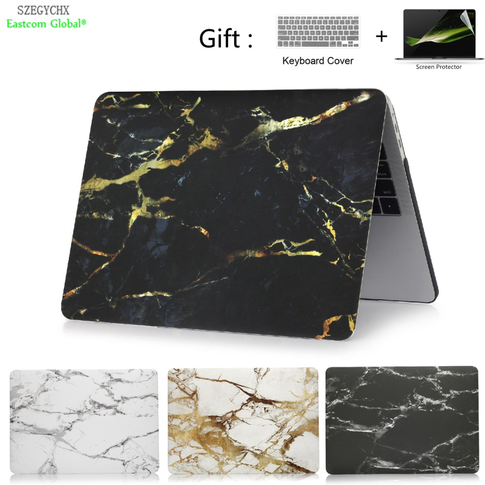 Funda para portátil de textura de mármol para Macbook Air Pro Retina 11 12 13 15 pulgadas barra táctil para Macbook New Air 13 A1932 2018 cubierta