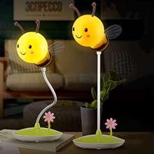 LED Bee Night Light 6VUSB Charge Touching Table Lamp Dimmable Baby Feeding Sleeping Bedroom Night Light Home Decor Creative Gi