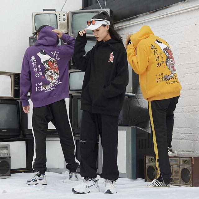 New Men Japanese Printed Hooded Pullover Sweatshirt Men High Street Fashion Hip Hop Streetwear Hoodie Autumn 4