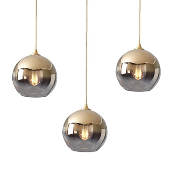 LukLoy Nordic Gold Ball จี้โมเดิร์นโคมไฟเพดาน Loft สำหรับห้องครัว Led จี้ไฟ Hanglamp แขวนโคมไฟ