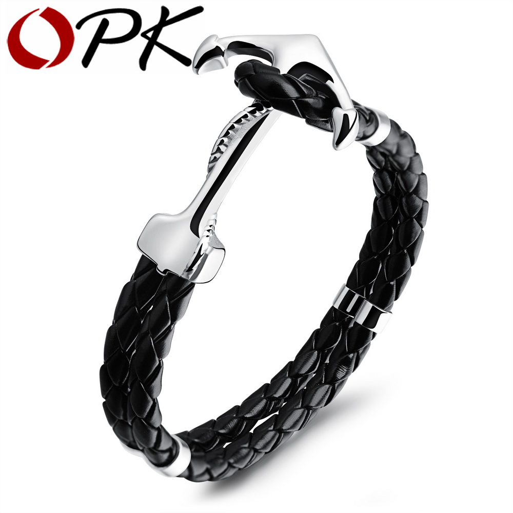 OPK Fashion Anchor Leather font b Bracelets b font Double Wrap Handmade Leather Braided High Polished