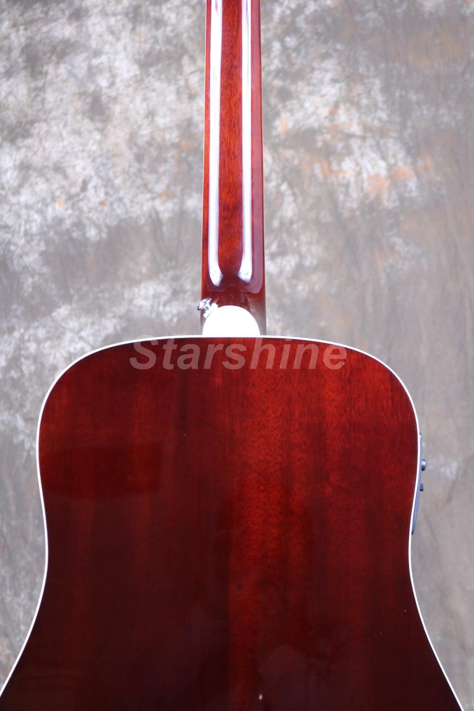 Starshine 6 cordes guitare acoustique ZZ-HMY Fishman 101 EQ, haut rigide, écrou d'os et selles ronflant oiseau Pickguard Grover Tuner - 3