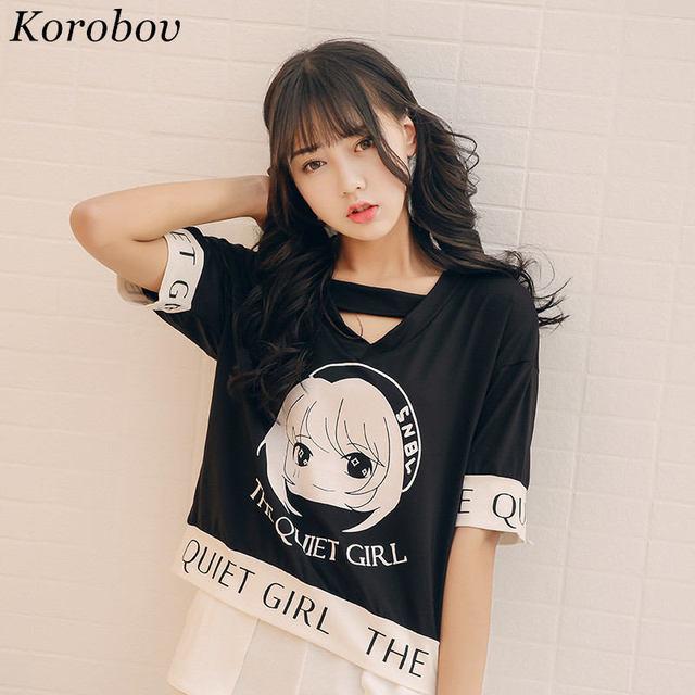 Korobov 2018 Summer T Shirt Contrast Color Tops Short Sleeve O Neck Tee Woman Causal T Shirt Cartoon Letter Printed Top Tee 373 by Korobov