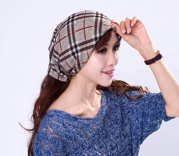 10pcs lot Classic British Plaid Slouchy Open Beanies Caps Spring Women Grid  Beanies Hats Ring Scarf Men Loop Scarves Skull Cap c67a46cf43b