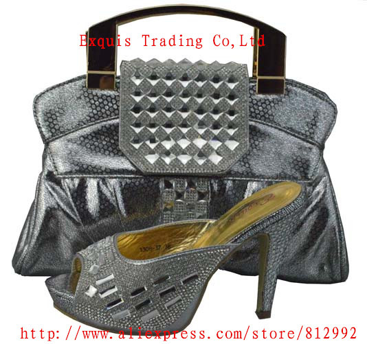 ФОТО New italian design lady shoes with matching bags for wedding party ,high quality shine stone 1308-37,Size 38-42 silver