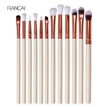 12 pièces professionnel fard à paupières brosse ensemble manche en bois fard à paupières Eyeliner mélange brosse visage outils cosmétiques maquillage maquillaje