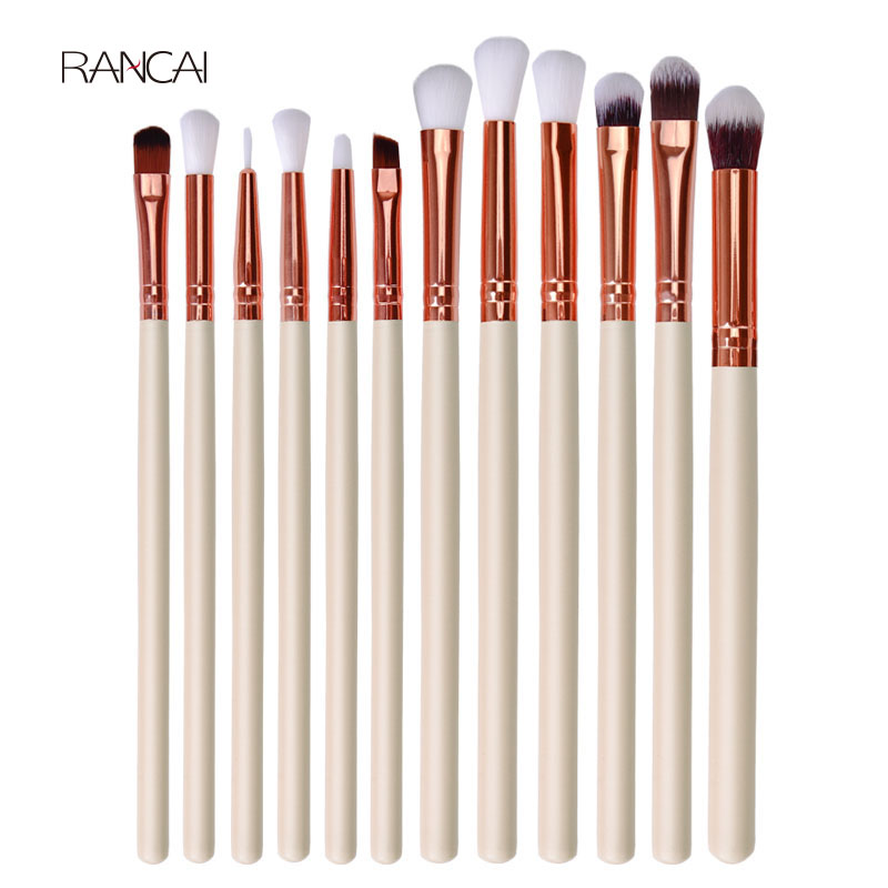 12Pcs Professional Eyeshadow Brush Set Wood Handle Eyeshadow Eyeliner Blending Brush Face Cosmetic Tools Make Up maquillaje