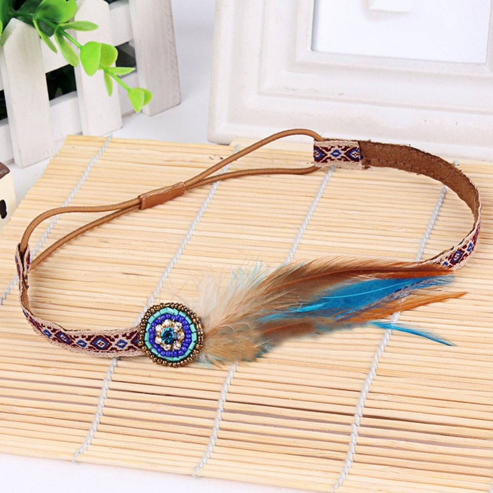 Bohomia Ethnic Festival Feather Elastic Headdress For Women Tribal Hair Rope Indian Hippy Accessory Jewelry