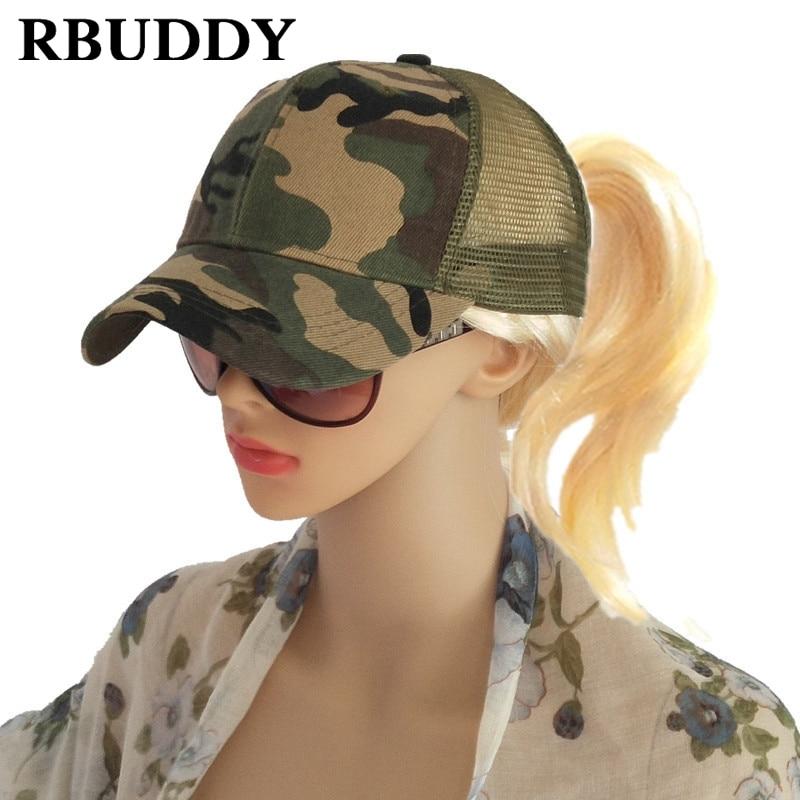 RBUDDY Ponytail Baseball Caps Hip Pop Camouflage Messy Bun Snapback Summer  Trucker Dad Hat for Women f66d164d81d2