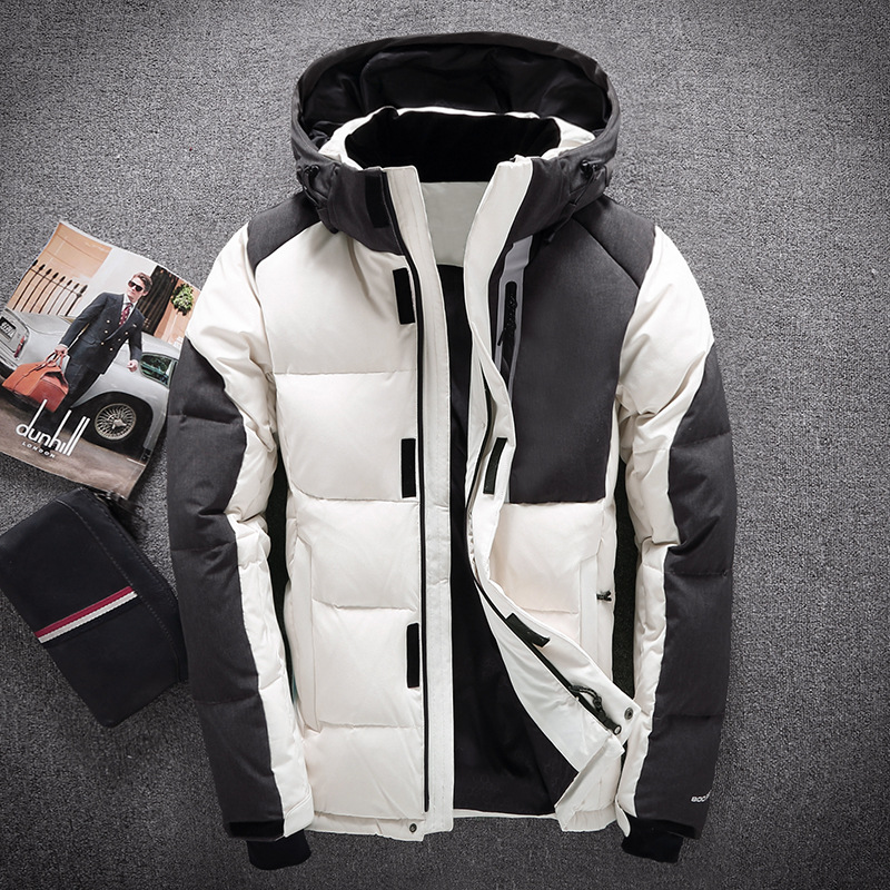 2018 New Winter Warm Man Short   Down   Jacket Men Fashion Hooded White Duck   Down     Coat   Male Outwear White Blue Black