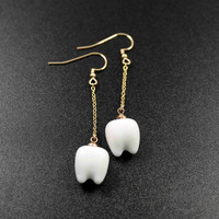 11x14mm White Ceramic Teeth Charm Gold Filled Wire Drop Earrings 6720088