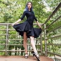 Latin Dance Dress Long Sleeve Irregular Skirt Lady Ballroom Tango Rumba Dresses Cha Cha Clothes for Women Latin Practice Wear