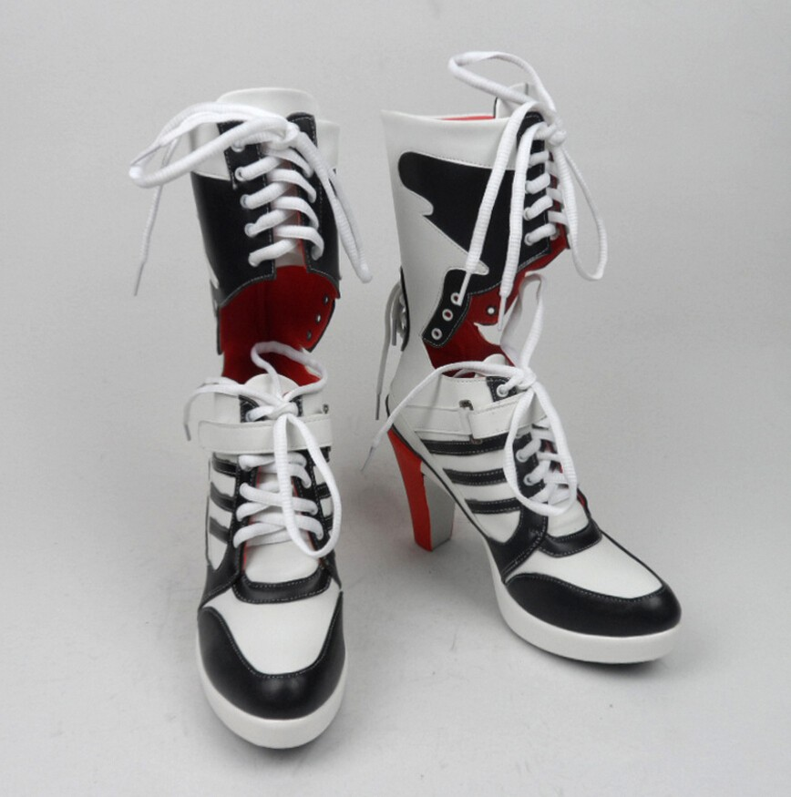 New hot movie suicide squad Harley Quinn Clown girl high heels increased shoes cosplay Halloween party