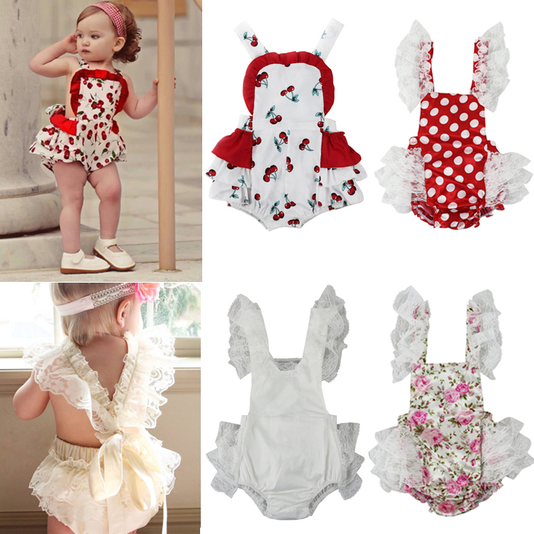 2017 New Sweet Kids Baby Girl Spaghetti Straps Halter Cherry Lace   Romper   Backless Jumpsuit Lace Outfits One-pieces Baby   Rompers