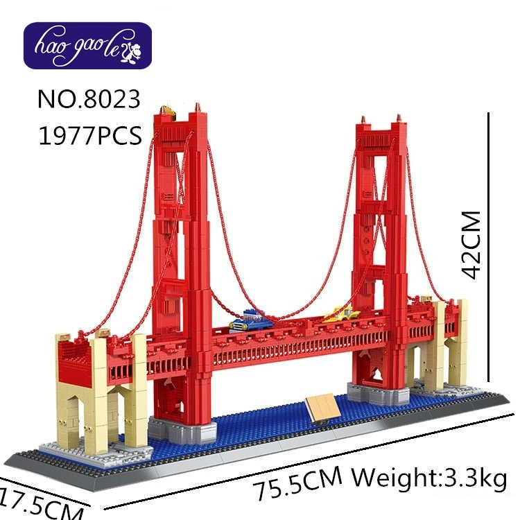 Free shipping 8023 1977Pcs Building Blocks Street View Series Golden Gate Bridge Model set DIY Bricks bab Toys for Children