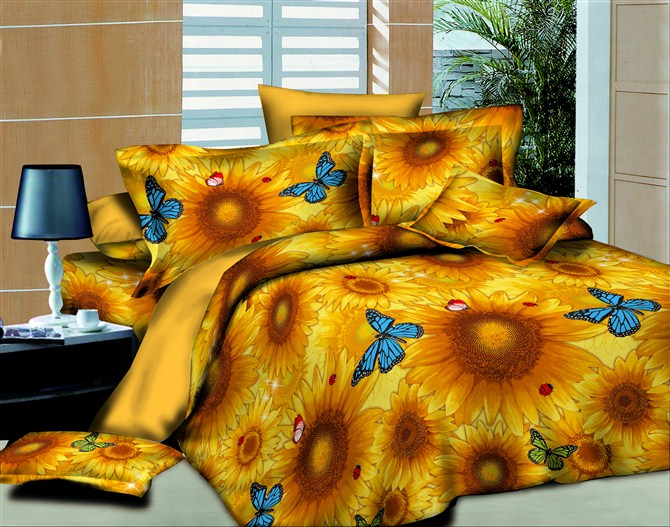 Yellow Sunflower Butterfly For Adults Bedding Set Queen